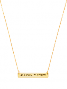 Engraved Coordinates Bar Pendant