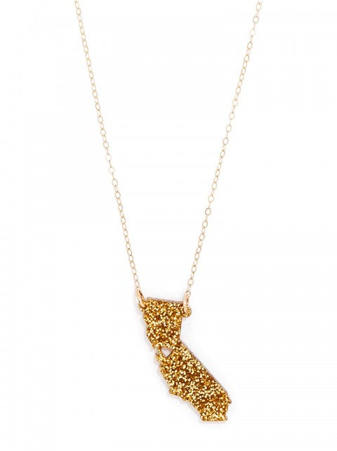 Loving these glittered state pendant necklaces